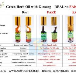 Cách Phân Biệt Dầu Sâm Green Herb Oil Thái Lan Thật Và Giả
