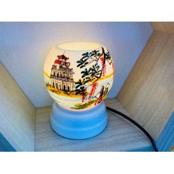 Đèn Xông Tinh Dầu Bát Tràng Mini Miệng Tròn Phong Cảnh MK20