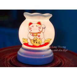 Đèn Xông Tinh Dầu Bát Tràng Mini Miệng Lượn Mèo Phát Tài MK28