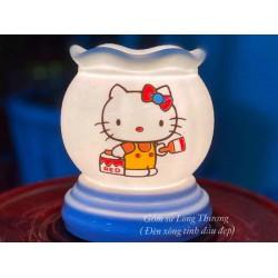 Đèn Xông Tinh Dầu Bát Tràng Mini Miệng Lượn Mèo Kitty MK30