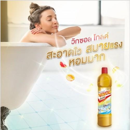 Combo 3 Nước Tẩy Rửa Bồn Cầu Vixol Vàng 3D Action 900ml Thái Lan