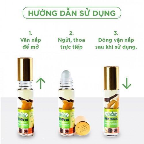 Lốc 12 Chai Dầu Lăn Thảo Dược Nhân Sâm Green Herb 8cc Thái Lan