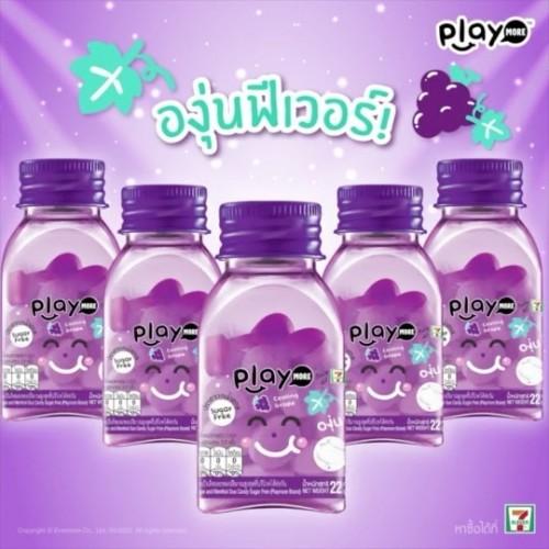 Lốc 6 Hũ Kẹo Playmore Vị Nho 22g Thái Lan [Có Logo 7-Eleven]