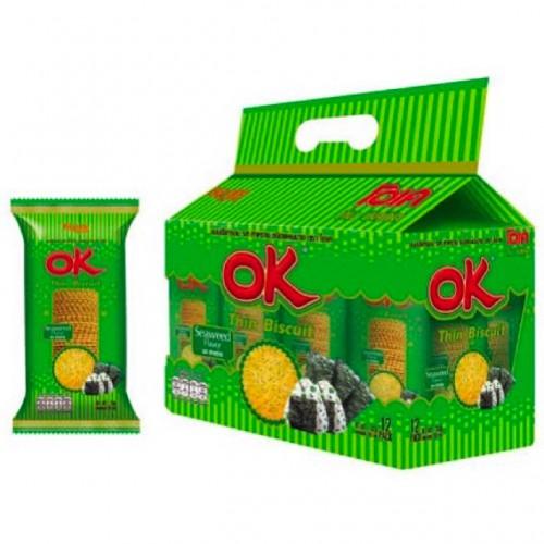 Bánh Quy OK Thin Biscuit 30g Thái Lan X12 [Phô Mai, Rong Biển, Sữa, Socola, Pizza]
