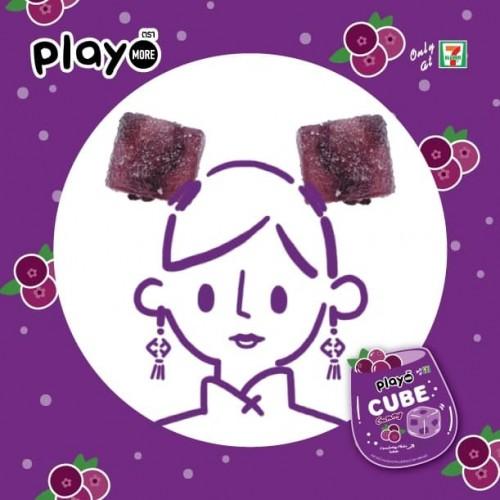 Kẹo dẻo dạng thạch vị nam việt quất thái lan - Play More Cube Gummy Cranberry Flake Inside