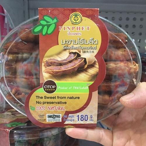 Me Tách Hạt Pinphet Seedless Tamarind 180g Tem Đỏ Thái Lan