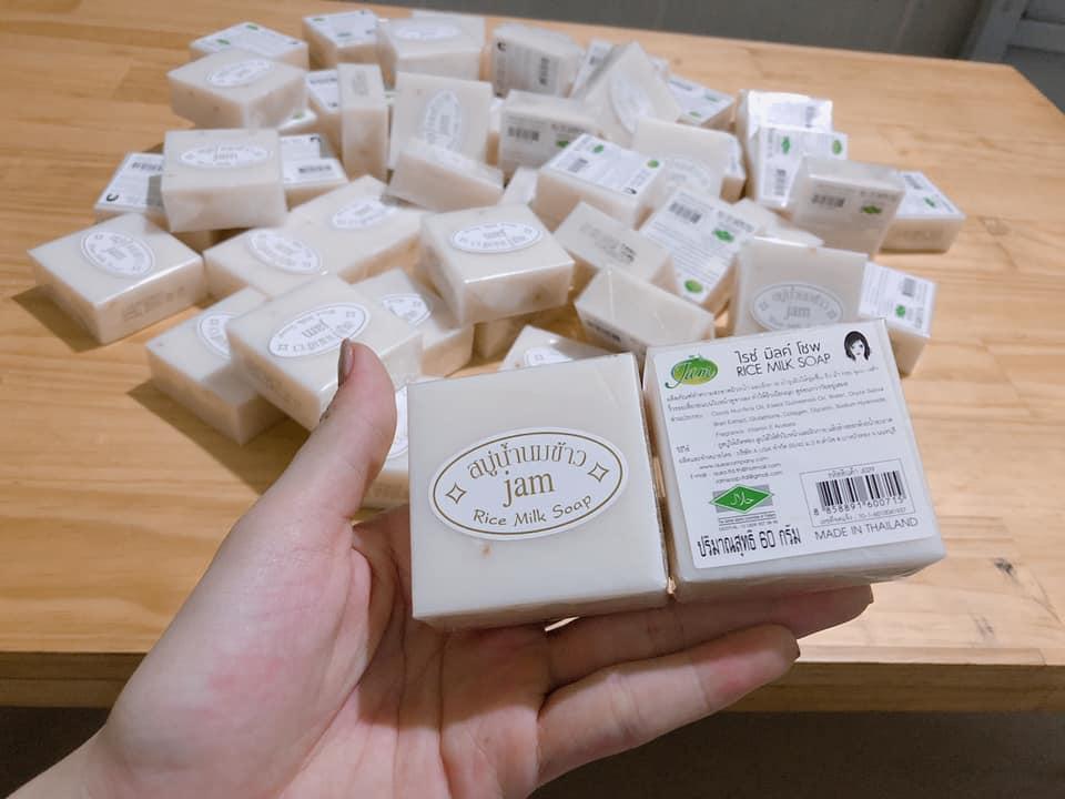 Review xà phòng cám gạo Jam Rice Milk Soap Whitening Herbal Soap Thái Lan